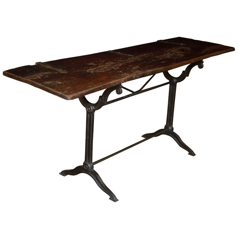 Reclaimed Wood And Forged Iron Console Table At 1stdibs