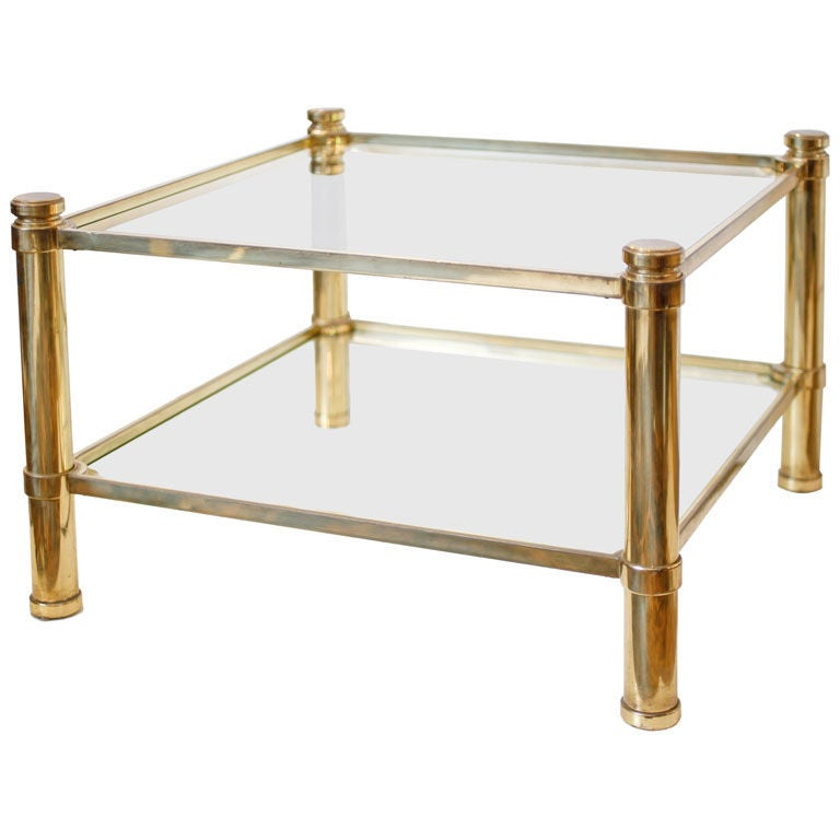 Square Brass And Glass Coffee Table At 1stdibs