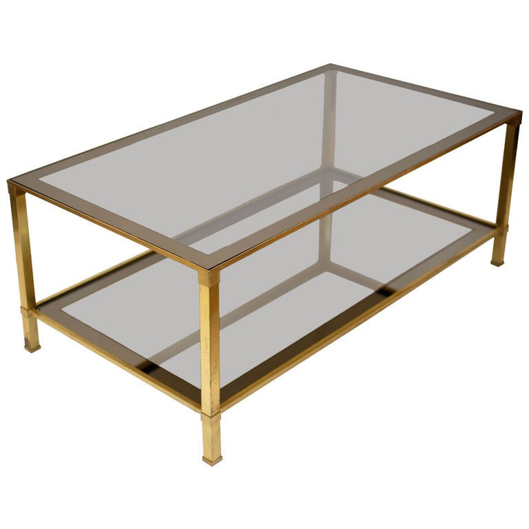 French brass and smoked glass coffee table at 1stdibs for French glass coffee table