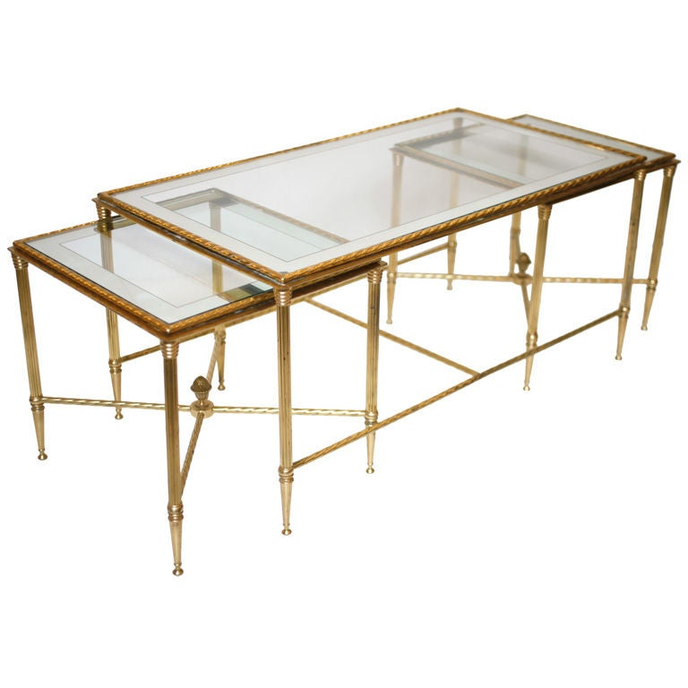 French gilt brass and glass nesting coffee table for Glass nesting coffee tables