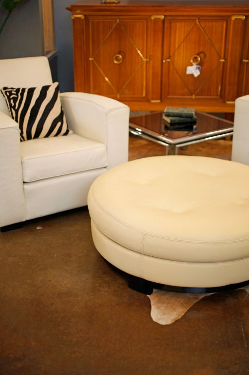 vintage leather ottoman by roche bobois at 1stdibs. Black Bedroom Furniture Sets. Home Design Ideas