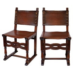 Pair of Renaissance Leather and Oak Side Chairs
