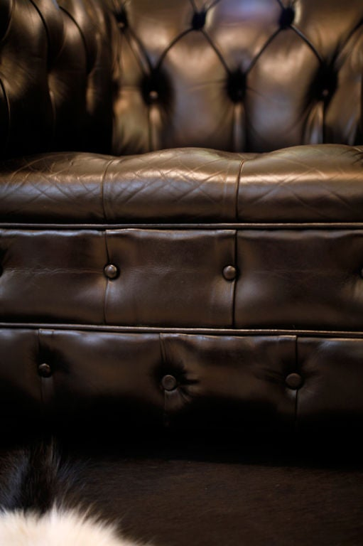 Pair Of Important Black Leather Chesterfield Armchairs At
