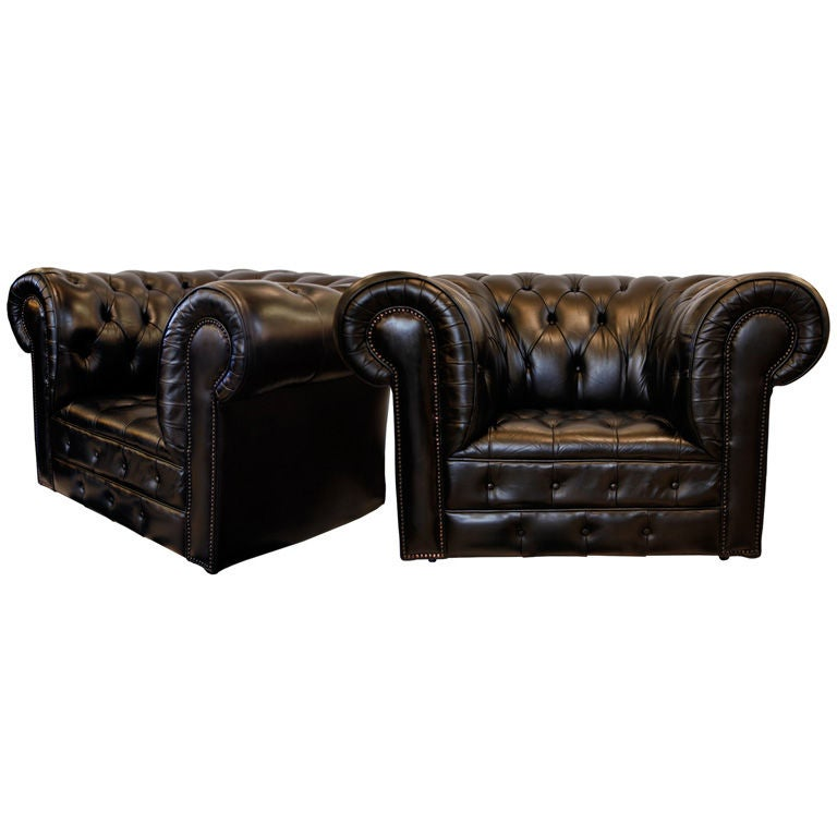 Pair of Important Black Leather Chesterfield Armchairs at ...