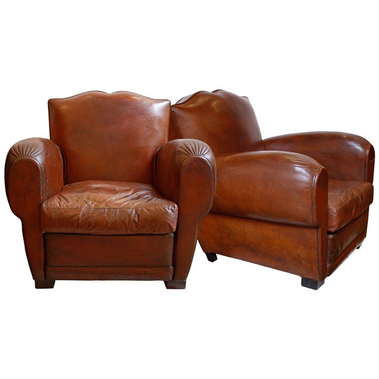 Pair Of Lambskin Havana Leather Moustache Back Club Chairs At 1stdibs