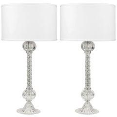 Murano Glass Column Table Lamps