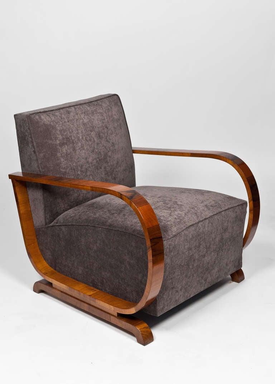 Austrian art deco period burled walnut armchairs at 1stdibs for Art deco era dates