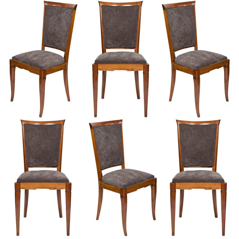 Art Deco Dining Rooms: Set Of 6 French Art Deco Period Dining Chairs At 1stdibs