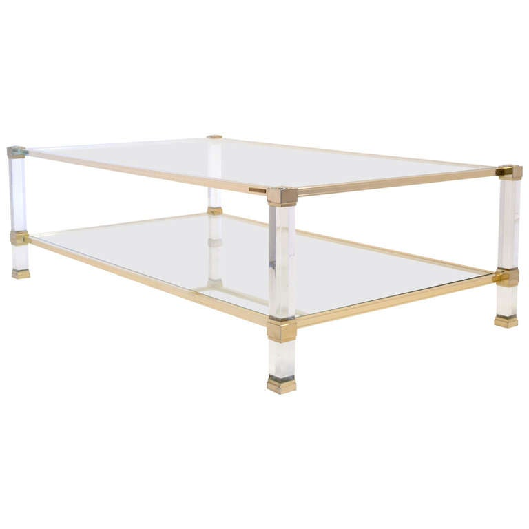 Lucite and brass coffee table by pierre vandel at 1stdibs for Lucite and brass coffee table