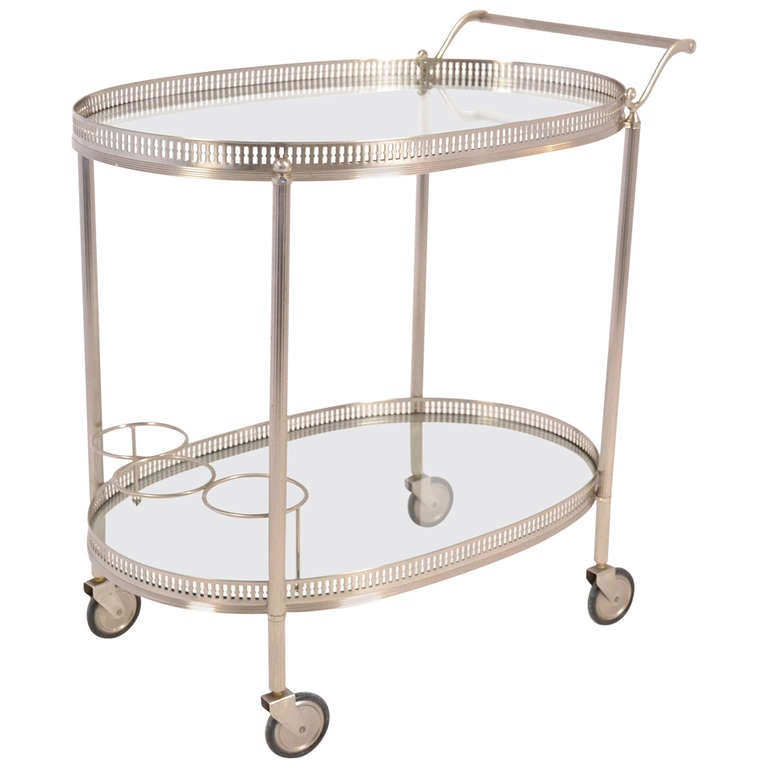 french vintage chrome oval bar cart at 1stdibs