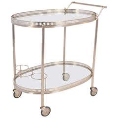 French Vintage Chrome Oval Bar Cart