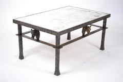 French Vintage Forged Iron and Bronze Coffee Table