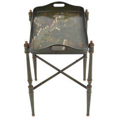 Vintage Painted Brass Tray Table