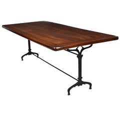 French Antique Solid Walnut Vineyard Table from Beaujolais Region