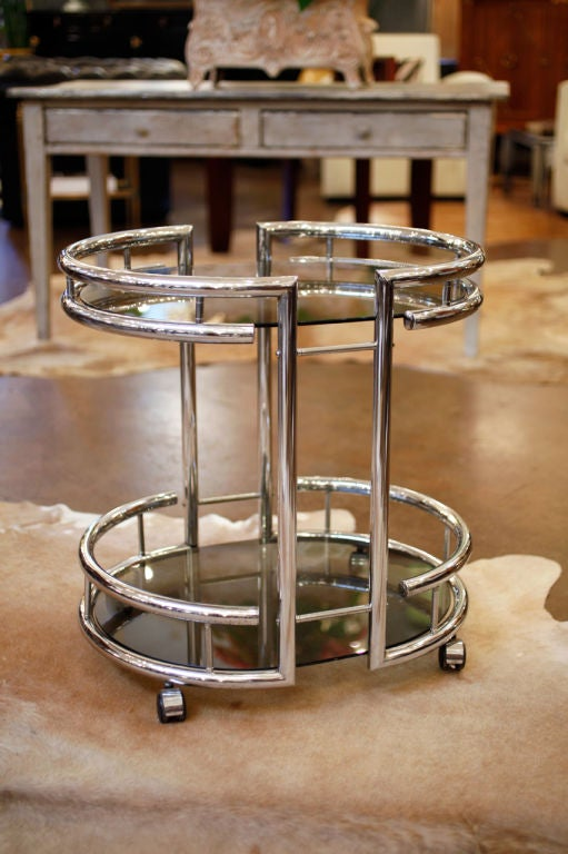 French Vintage Chrome And Tinted Glass Bar Cart At 1stdibs