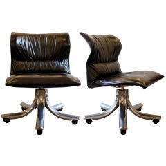 Vintage Italian Leather Chair by Saporiti