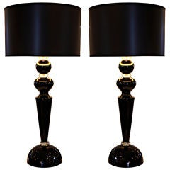 Striking Pair of Black Murano Glass Lamps