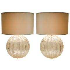 """Pair of Murano """"Pulegoso"""" Glass Globe Lamps"""