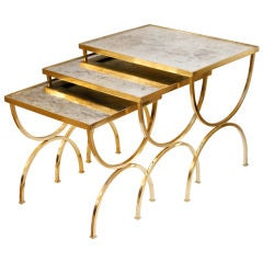 Set of Curule Base Brass and Antiqued Mirror Nesting Tables