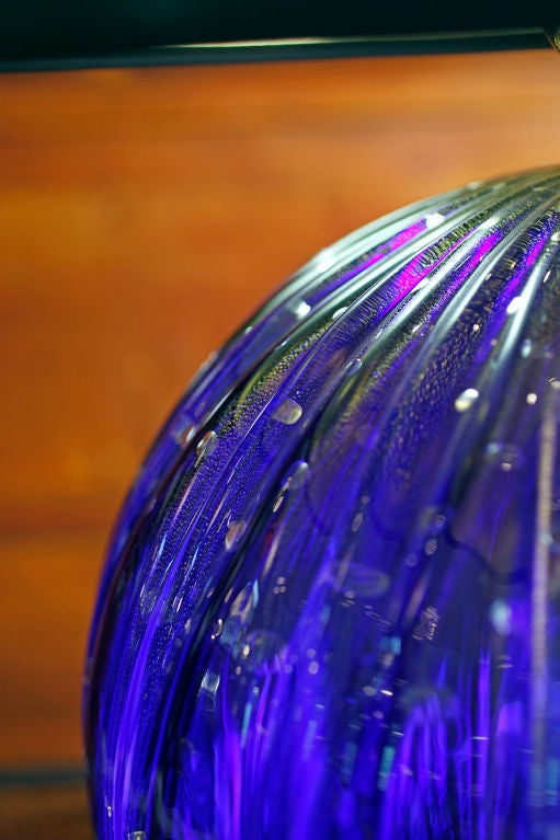Pair of Vintage Cobalt Blue Murano Glass Lamps For Sale 4