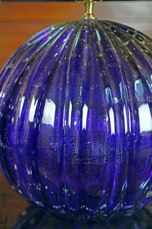 Italian Pair of Vintage Cobalt Blue Murano Glass Lamps For Sale