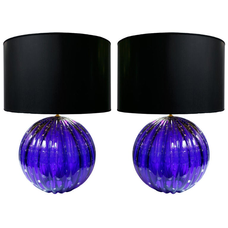 Pair of Vintage Cobalt Blue Murano Glass Lamps For Sale