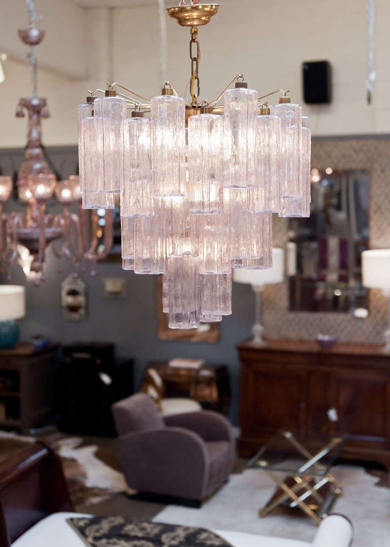 Vintage Murano Pink Glass And Brass Chandelier At 1stdibs