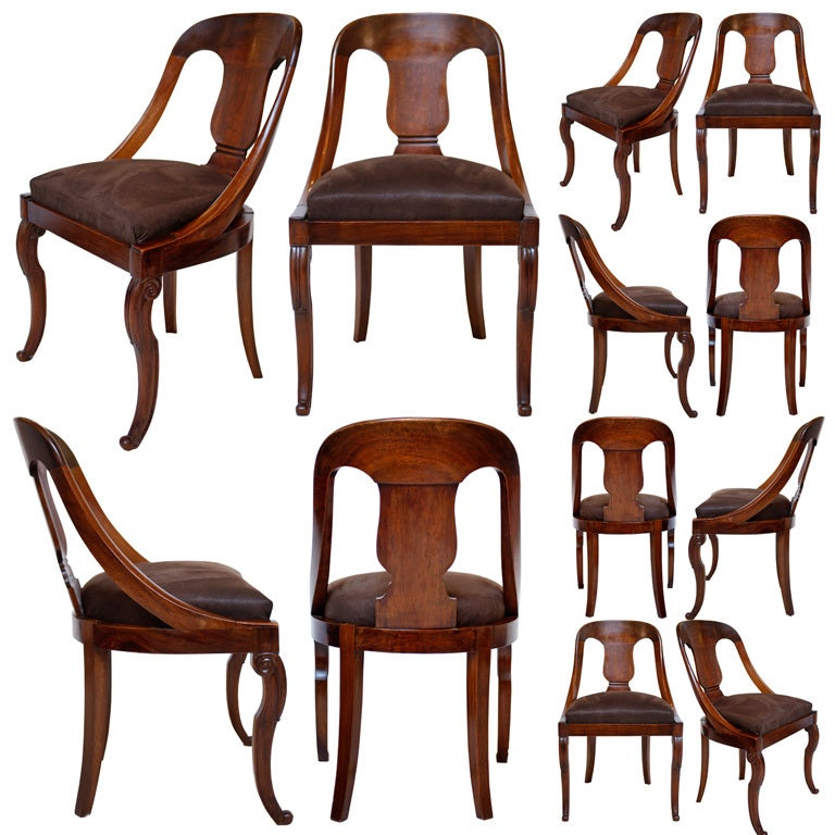 Set Of 12 French Restoration Period Mahogany Gondola Chairs At 1stdibs