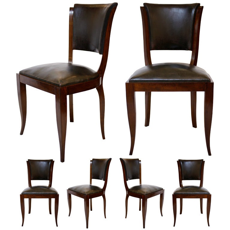 Set Of 6 French Leather Art Deco Dining Chairs At 1stdibs
