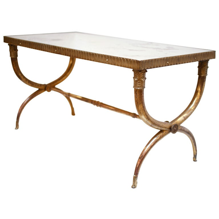 Bronze And Mirrored Glass Coffee Table By Raymond Subes At 1stdibs