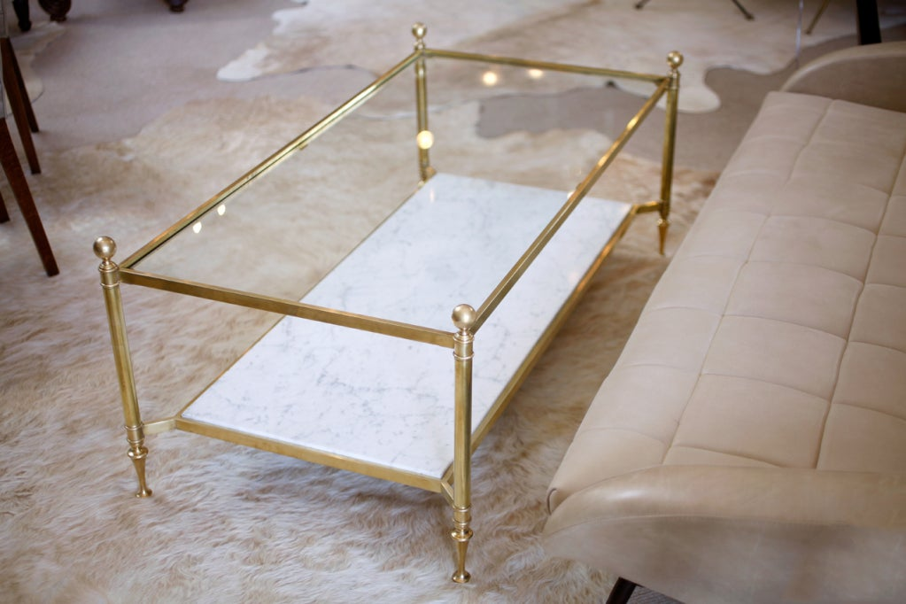 Neoclassic Brass And Carrara Marble Coffee Table At 1stdibs