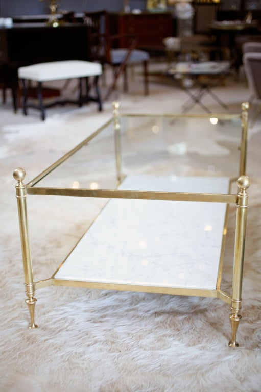 neoclassic brass and carrara marble coffee table at 1stdibs. Black Bedroom Furniture Sets. Home Design Ideas