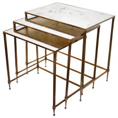 Set of  Antiqued Mirrored Glass Nesting Tables by Maison Baques