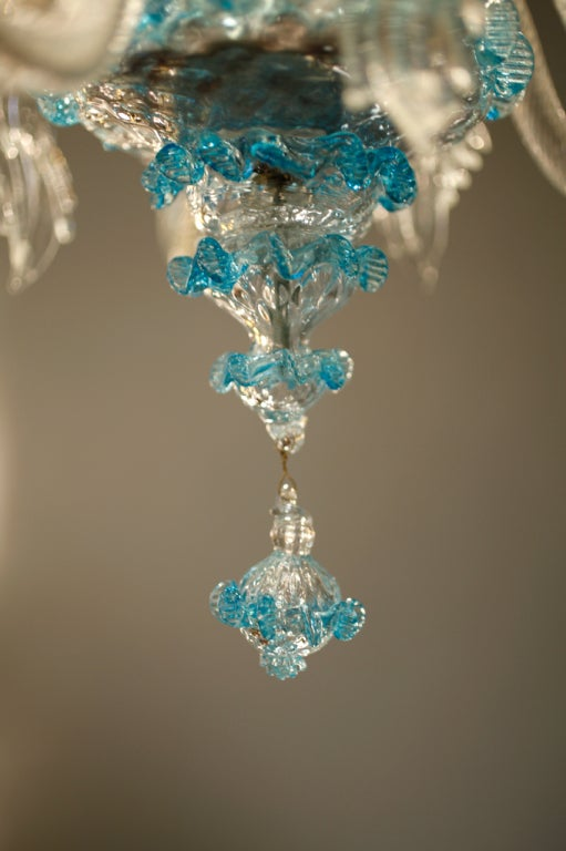 Celestial Blue and Crystal Murano Glass Chandelier 10
