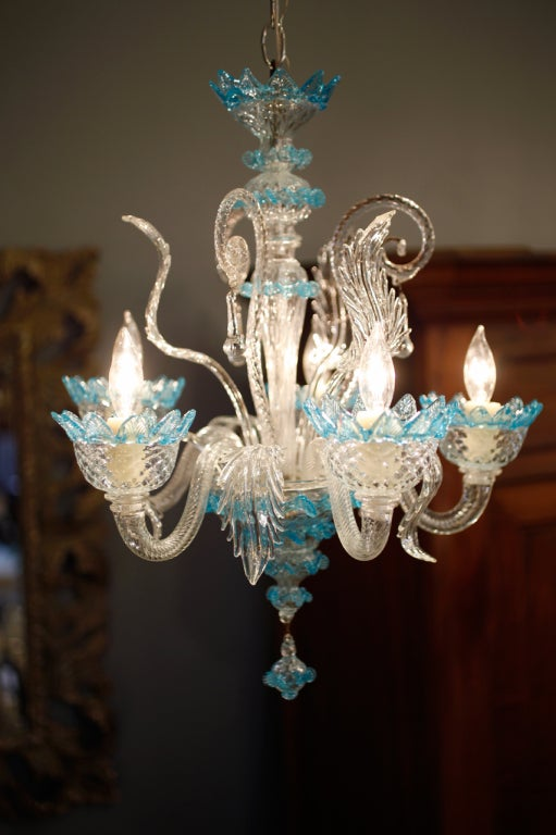 Celestial Blue and Crystal Murano Glass Chandelier 2