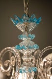 Celestial Blue and Crystal Murano Glass Chandelier image 3