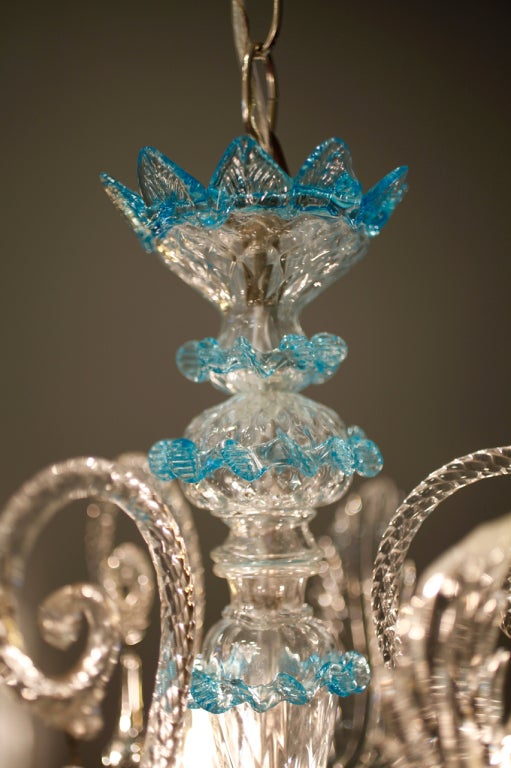Celestial Blue and Crystal Murano Glass Chandelier 3
