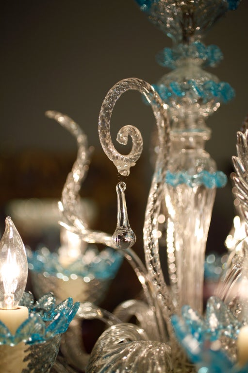 Celestial Blue and Crystal Murano Glass Chandelier 4