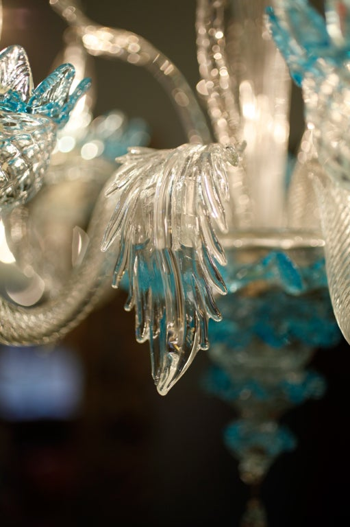 Celestial Blue and Crystal Murano Glass Chandelier 5