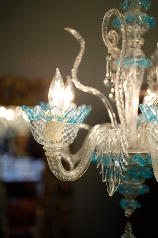 Celestial Blue and Crystal Murano Glass Chandelier 6