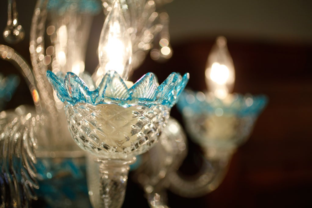 Celestial Blue and Crystal Murano Glass Chandelier 7