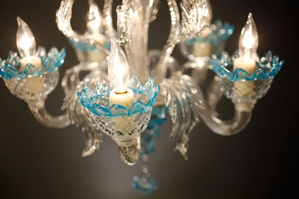 Celestial Blue and Crystal Murano Glass Chandelier 8