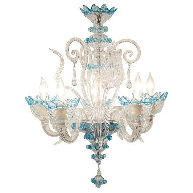 Celestial Blue and Crystal Murano Glass Chandelier