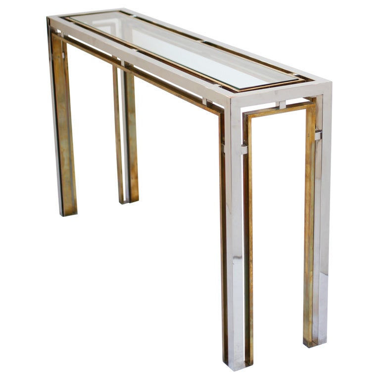 1stdibs Brass Smoked Glass French Console Table: French Vintage Chrome, Brass, And Glass Console Table At