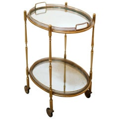 French Brass & Mirror Tray Table on Casters