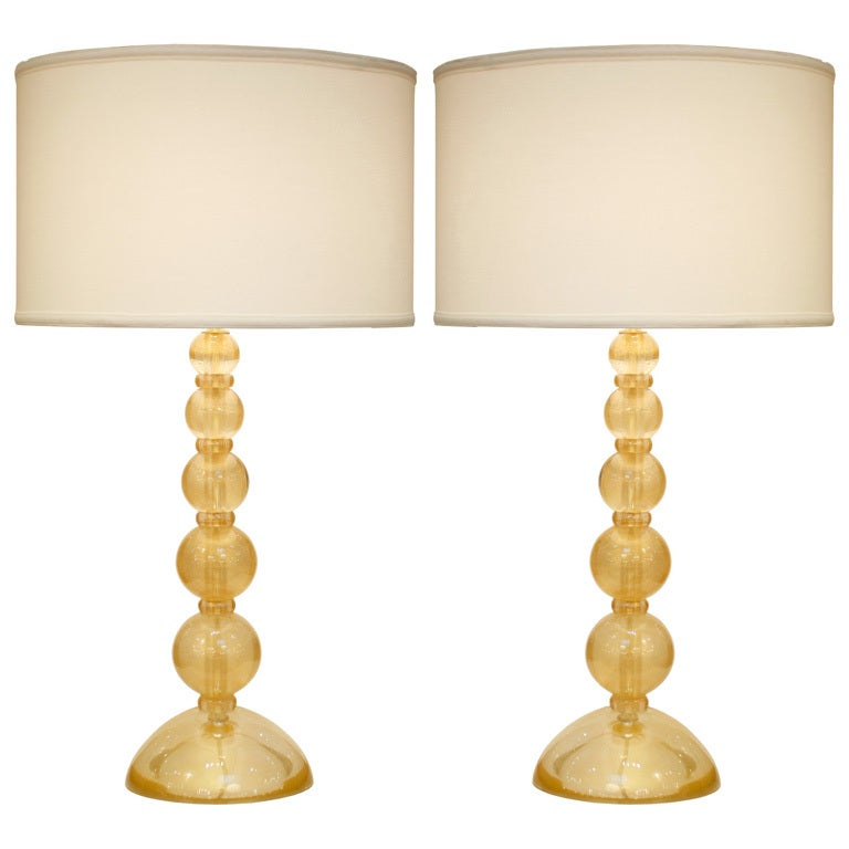 Pair Of Gold Murano Avventurina Glass Table Lamps At 1stdibs