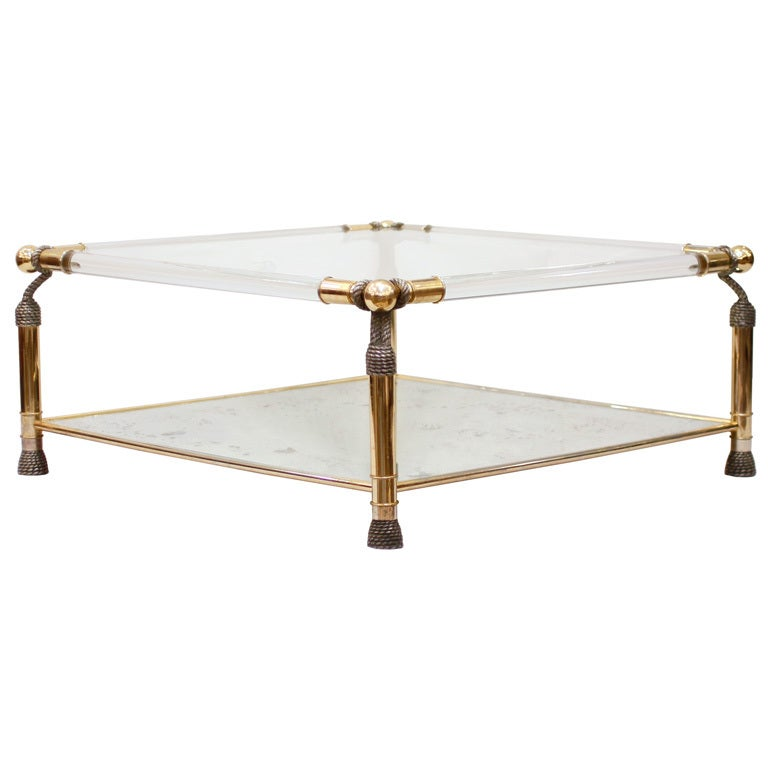 French brass lucite and glass coffee table at 1stdibs for Lucite and brass coffee table