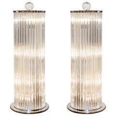 Amazing Pair of Murano Glass Floor Lamps