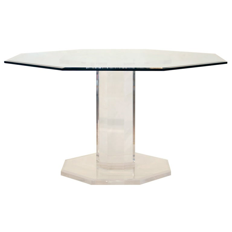 Stunning Octagonal Lucite And Beveled Glass Dining Table
