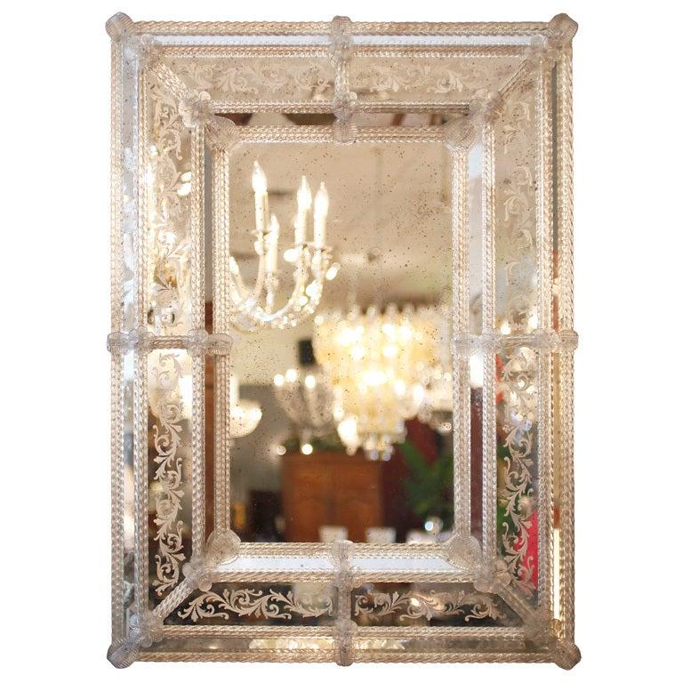 Stunning Venetian Glass Mirror At 1stdibs